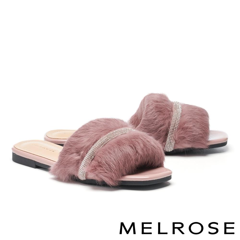 拖鞋 MELROSE 奢華時尚兔毛鑽條平底拖鞋-粉