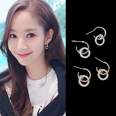 梨花HANA  韓國925銀金秘書為何那樣鑽圈雙環耳環