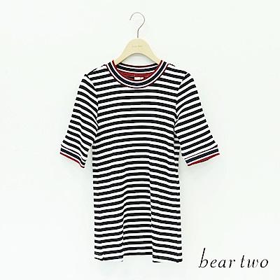 beartwo 配色合身五分袖T(二色)