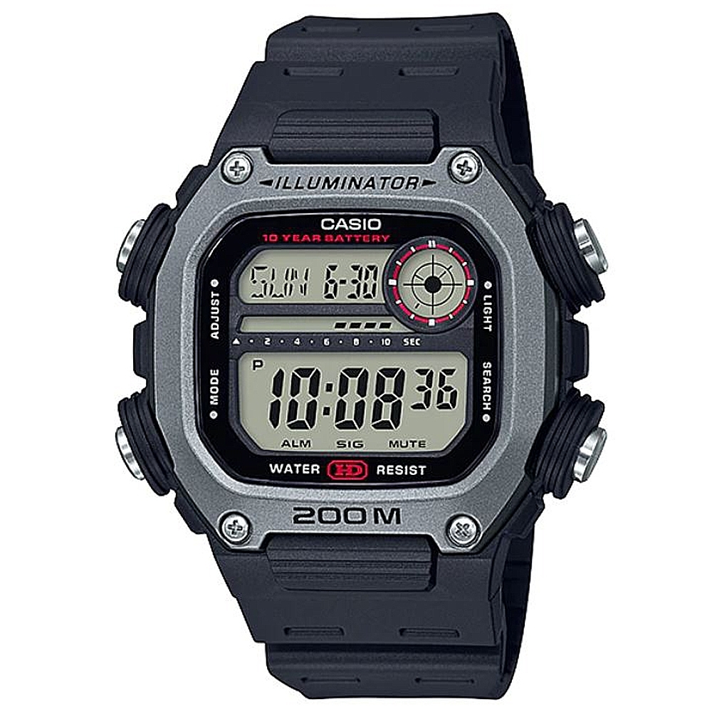CASIO 粗曠男子強悍風格電子錶-淺灰錶框x黑錶盤(DW-291H-1A)/50.5mm