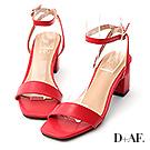 D+AF 夏日魅力.一字繫踝方頭高跟涼鞋*紅