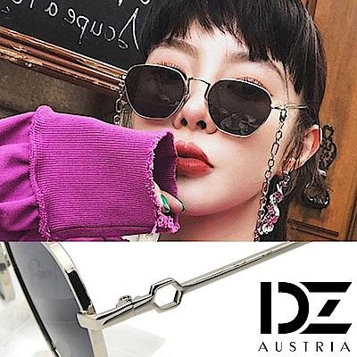【2件59折】DZ 龐克六角鏤空 抗UV防曬太陽眼鏡墨鏡(銀框黑灰片)
