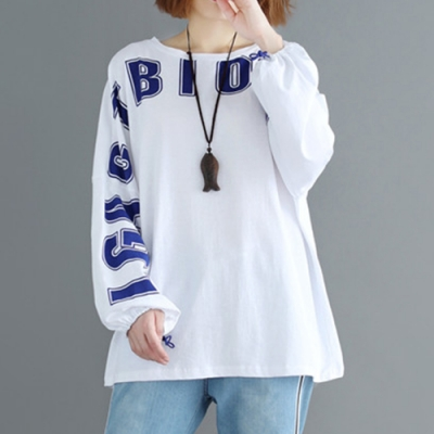 SQUA 藍色英文字母大學T上衣-F