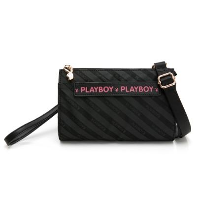 PLAYBOY-  萬用包附手挽帶及長背帶 時尚黑潮系列 -黑色