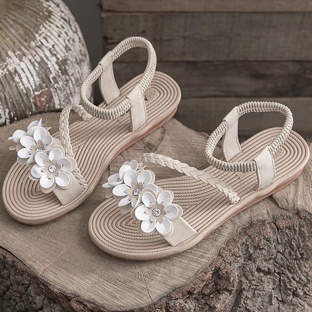 KEITH-WILL時尚鞋館 獨家價美型美腿三朵花平底涼鞋-米