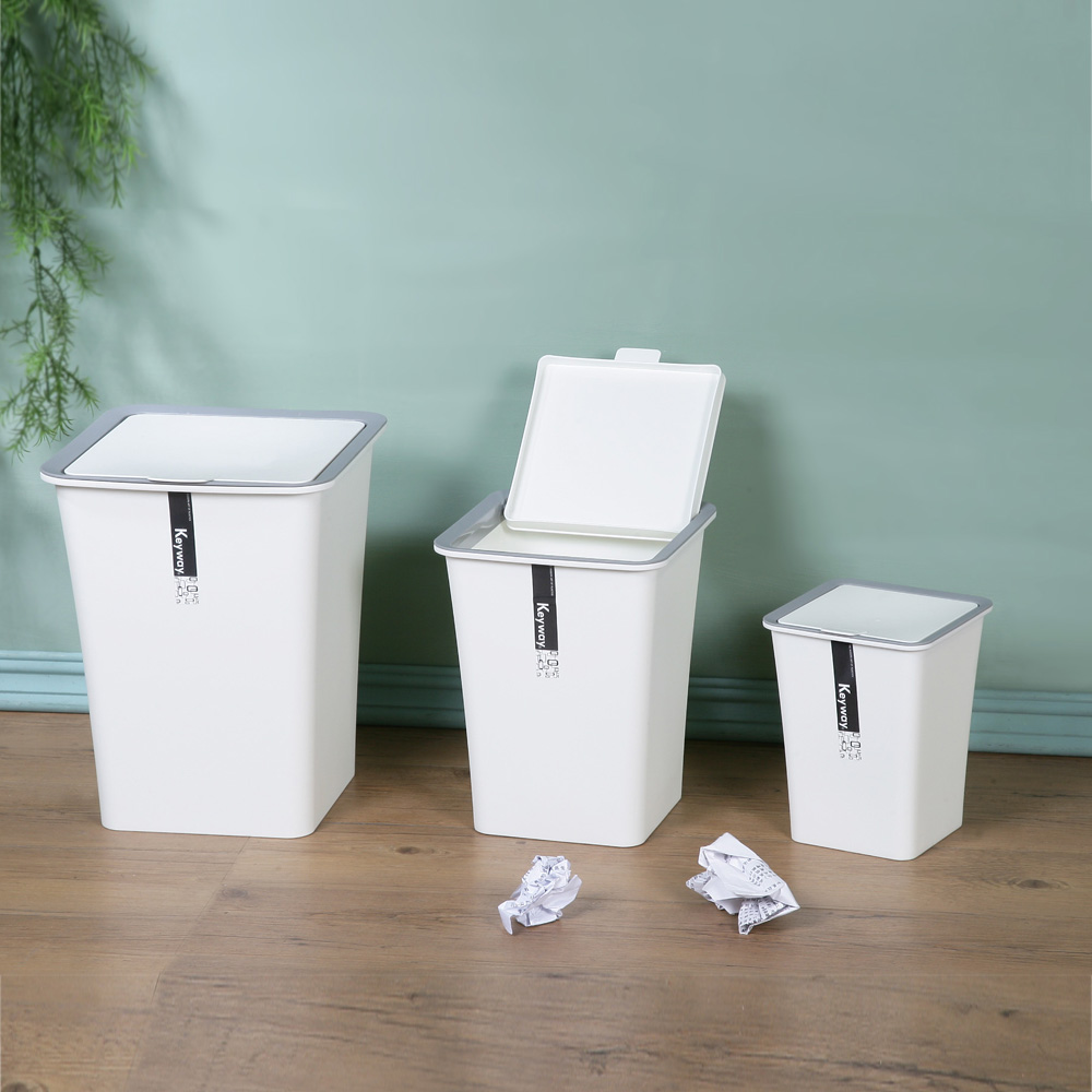 創意達人 KEYWAY白色時尚掀蓋垃圾桶(大中小)3入組