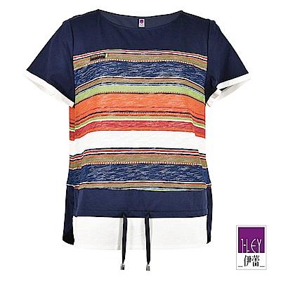ILEY伊蕾 針織造型條紋配色棉質上衣(藍)