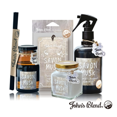 John's Blend 室內香氛擴香膏+擴香瓶+香氛掛片+除臭噴霧(麝香皂香-4入組)