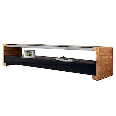 文創集 威廉時尚6.7尺木紋雙色電視櫃/視聽櫃-200x45x45cm免組