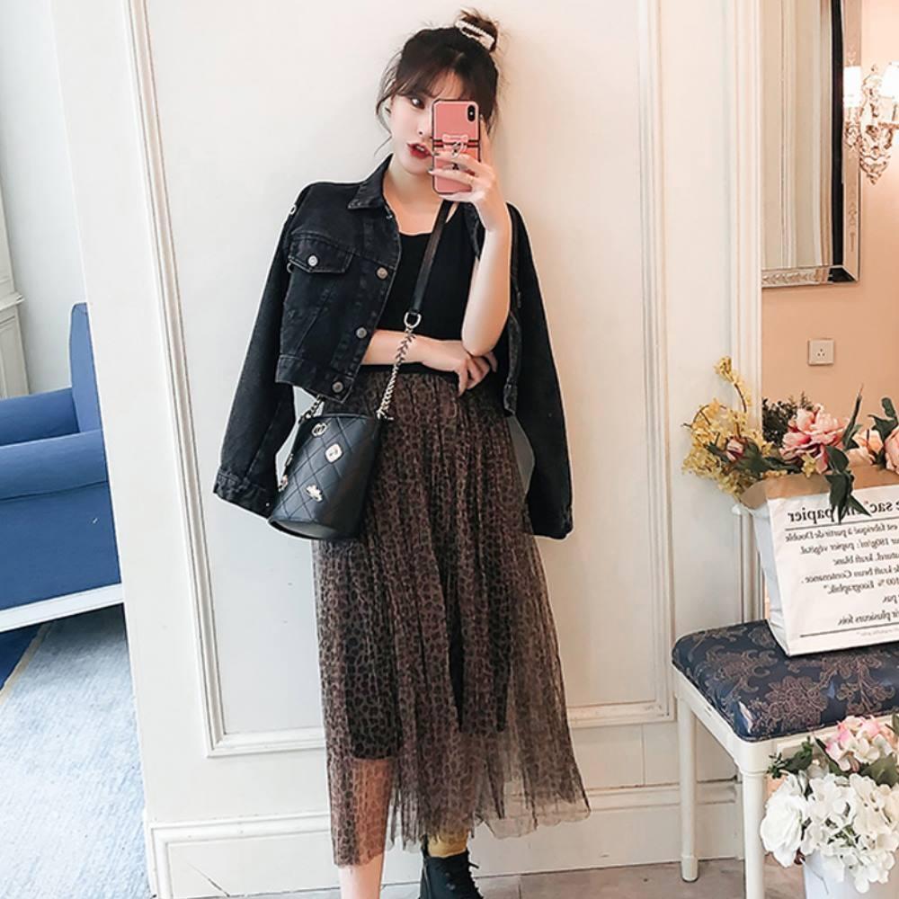 中大尺碼銅釦裝飾雙口袋黑色水洗牛仔外套XL~4L-Ballet Dolly