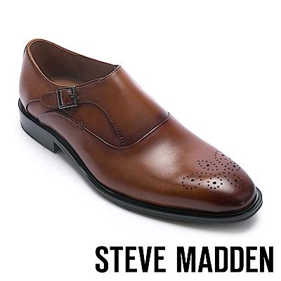 STEVE MADDEN-NEILSON 真皮扣帶飾男士牛津鞋-咖啡