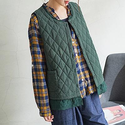 慢 生活 森林系蕾絲襬菱格夾棉背心-綠/藍