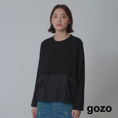 gozo-休閒拼接長袖上衣(兩色)