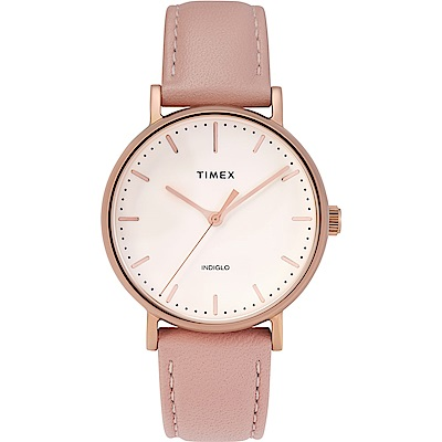 TIMEX 天美時 復刻系列 簡約復古手錶-粉紅x玫瑰金框/37mm