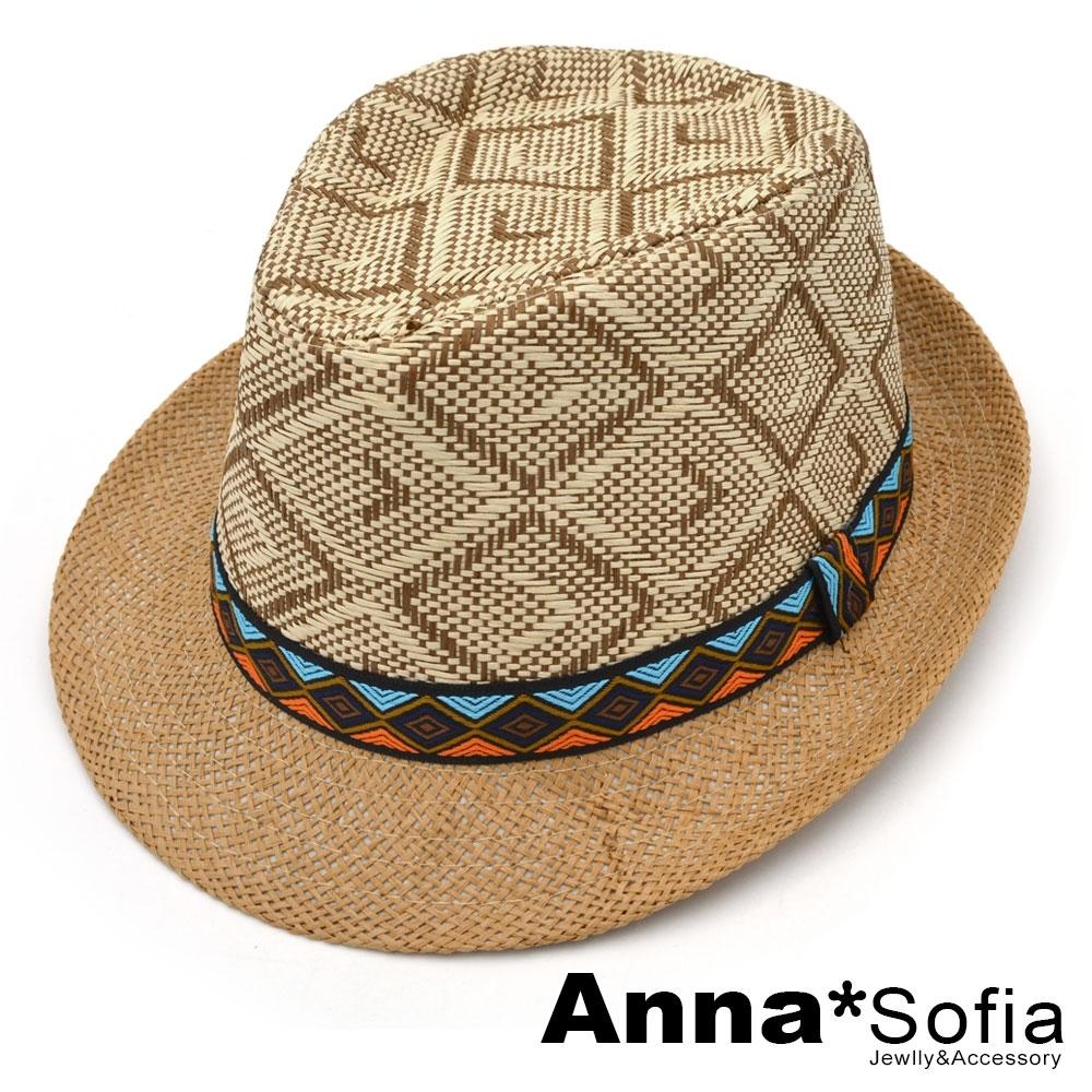 AnnaSofia 原住菱層圖騰 紳士帽爵士帽禮帽草帽(駝系)