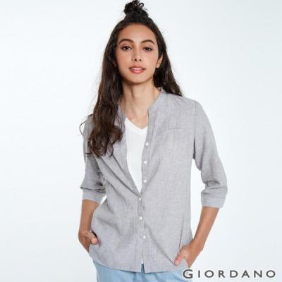 GIORDANO 女裝自然棉麻系列七分袖襯衫-02 淺灰