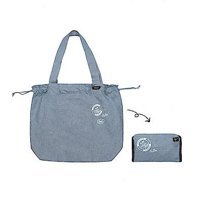 Antenna Shop野餐趣束口摺疊購物袋-丹寧藍