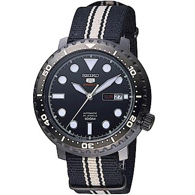 SEIKO精工5號復刻時尚機械腕錶(SRPC67J1)-黑帆布