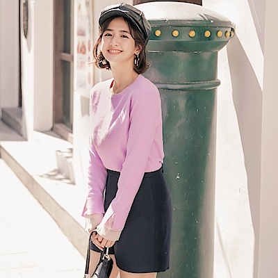 iMODA STAR-臧芮軒。袖雙層蕾絲紗拼接純色包芯紗針織長袖毛衣