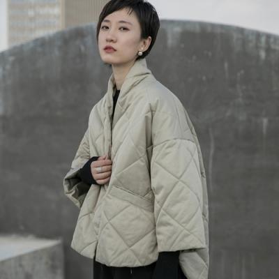 設計所在Style-冬季壓格寬鬆和服造型短版棉衣外套