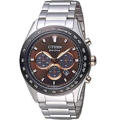 (無卡分期6期)CITIZEN 星辰時刻捕手光動能計時錶(CA4456-83X)-咖啡