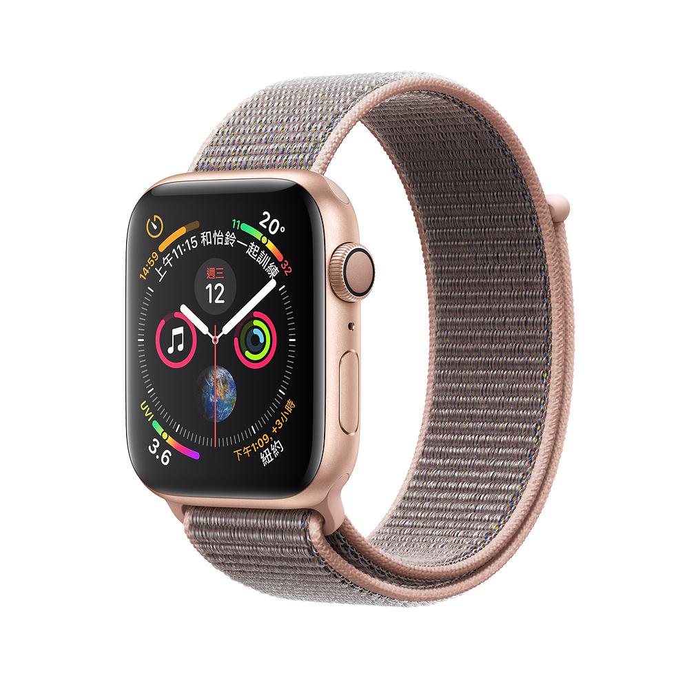 AppleWatch S4 GPS 40mm金色鋁金屬錶殼搭配粉沙色運動型錶環 @ Y!購物
