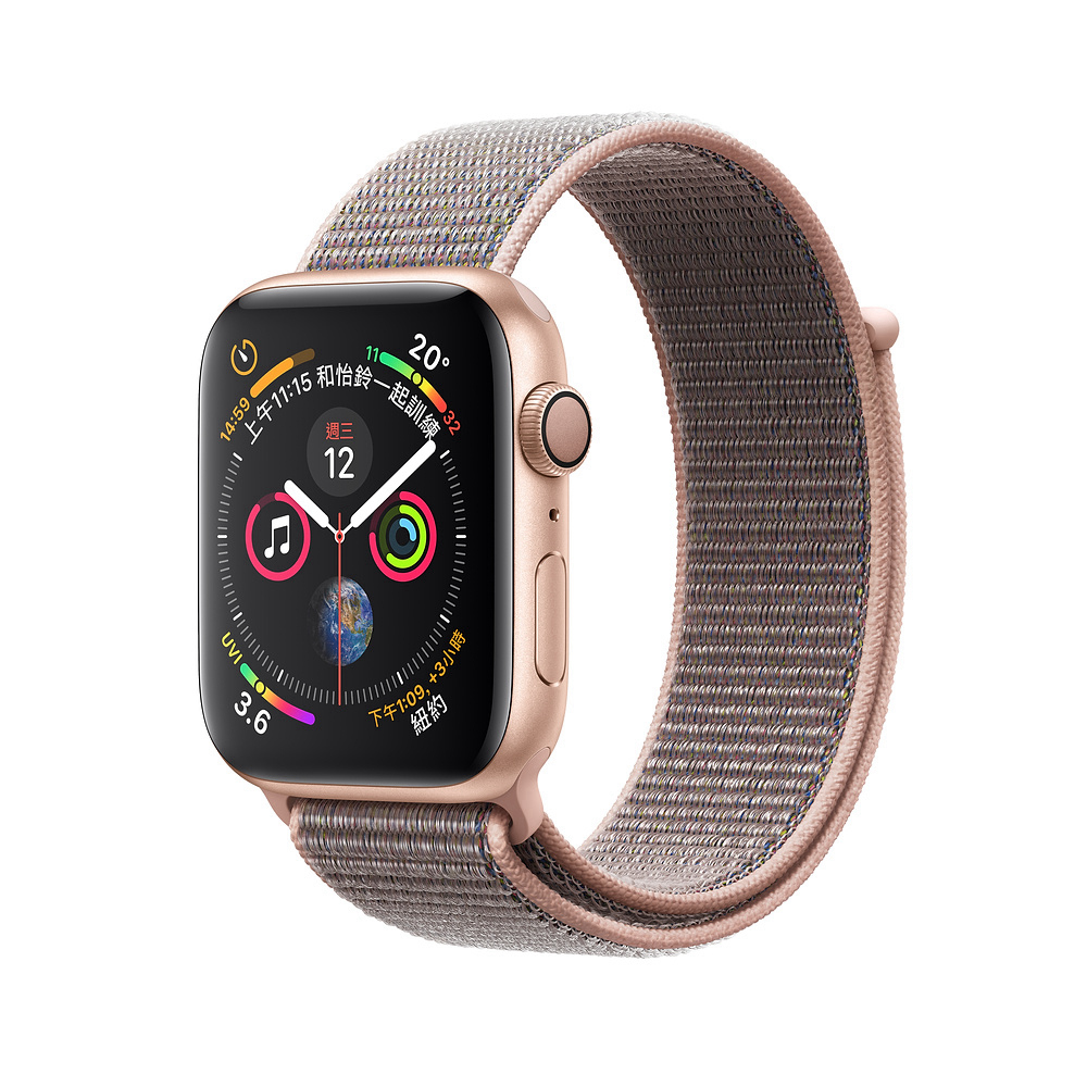 AppleWatch S4 GPS 44mm金色鋁金屬錶殼搭配粉沙色運動型錶環 @ Y!購物