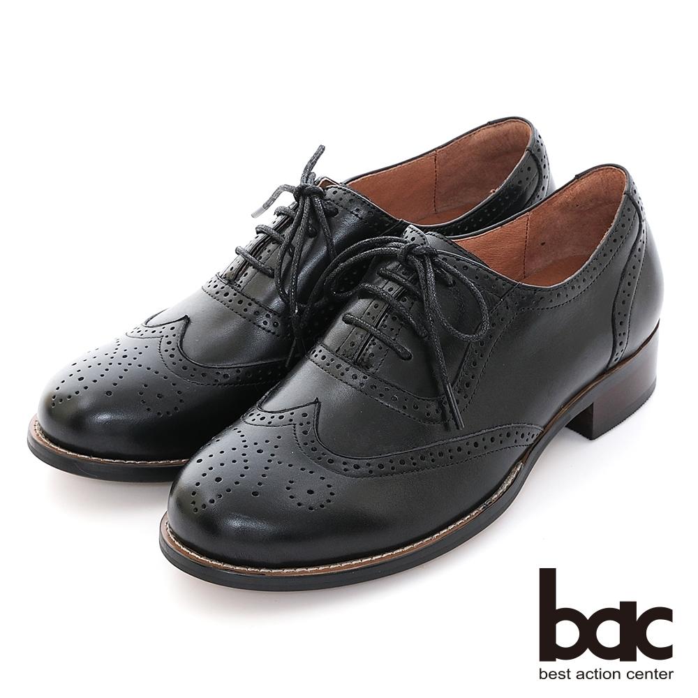 【bac】復古英倫率性沖孔綁帶牛津鞋-黑