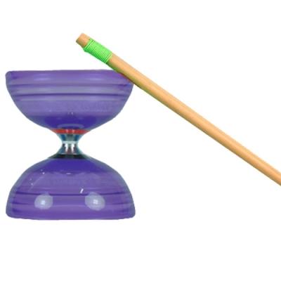 三鈴SUNDIA-台灣製造-炫風長軸三培鈴扯鈴(附木棍、扯鈴專用繩)紫色