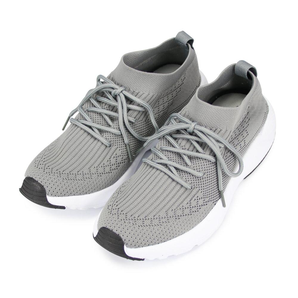 BuyGlasses 飛炫流線IN綁帶襪套式慢跑鞋-灰