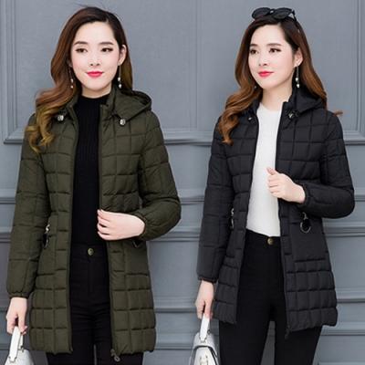 【韓國K.W.】歐美名品輕量羽绒棉中長外套(兩色可選)