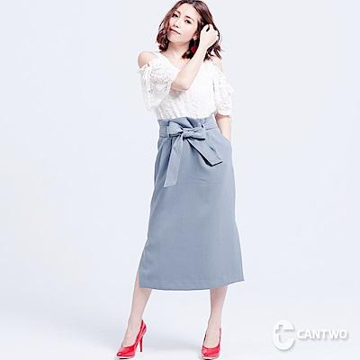 CANTWO復古高腰側叉過膝裙(共二色)