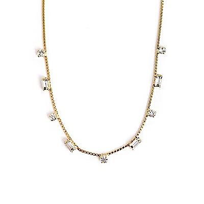 LOVERS TEMPO加拿大品牌 JOSIE幾何造型水晶鑲嵌 金色項鍊