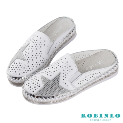 Robinlo 星空主題閃鑽休閒拖鞋 白色