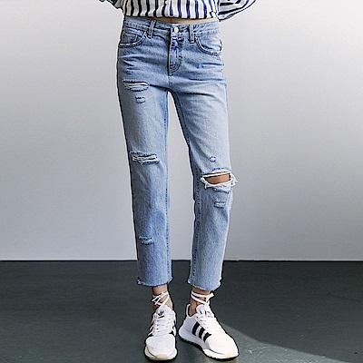 ALLK 刷破直筒牛仔褲 淺藍色(尺寸27-31腰)