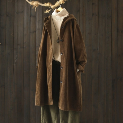 霧面質感燈芯絨連帽風衣寬鬆中長版外套-設計所在