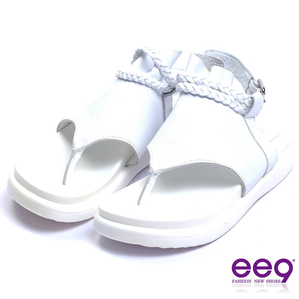 ee9 經典手工露趾厚底夾腳涼鞋 白色 @ Y!購物