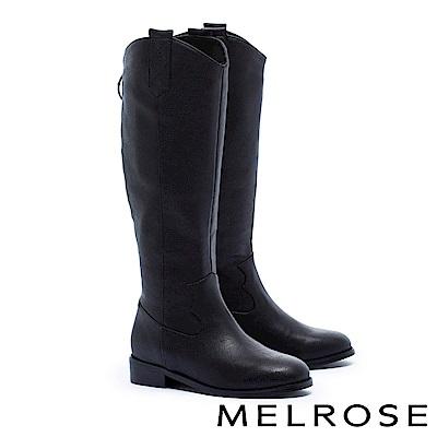 長靴 MELROSE 經典率性V型剪裁荔枝紋皮革粗低跟長靴-黑