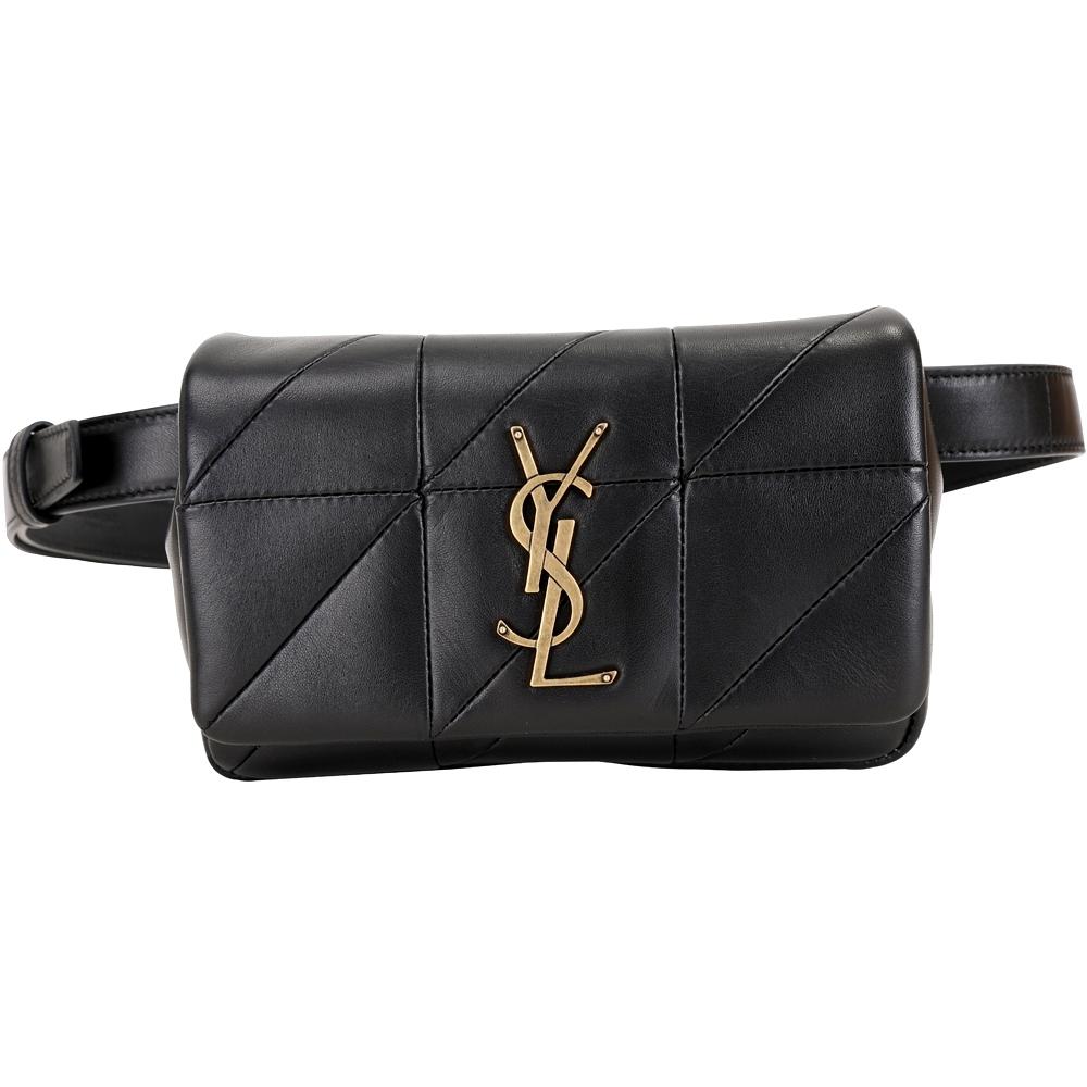 YSL Saint Laurent JAMIE 羊皮絎縫胸肩背/腰包(黑色)