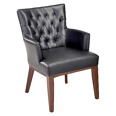 AS-Honey胡桃色黑皮實木餐椅-57x57x86.5cm