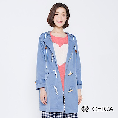 CHICA 青春氣息牛角釦連帽風衣外套(2色)