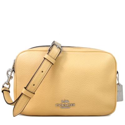 COACH 馬車Logo荔枝紋全皮革雙層大相機包(鵝黃色)