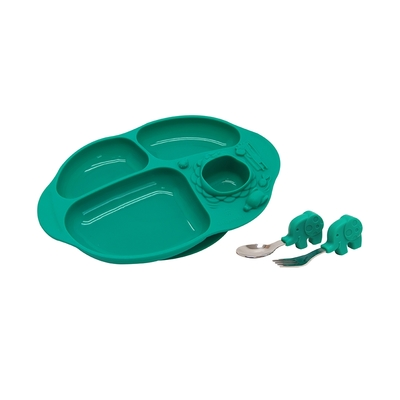 【MARCUS&MARCUS】手握吸力餐盤學習禮盒組-大象