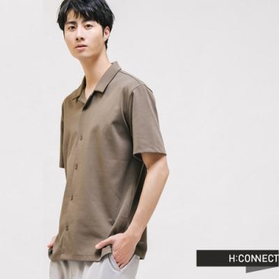 H:CONNECT 韓國品牌 男裝 - 簡約翻領排扣襯衫 - 灰