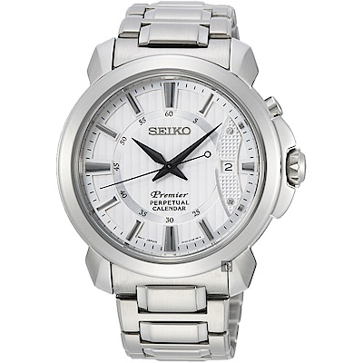 SEIKO 精工 Premier 紳士萬年曆手錶-銀/41.5mm (SNQ155J1)