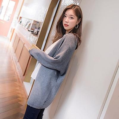 純色包芯紗粗針織開襟寬鬆長版毛衣外套-OB嚴選