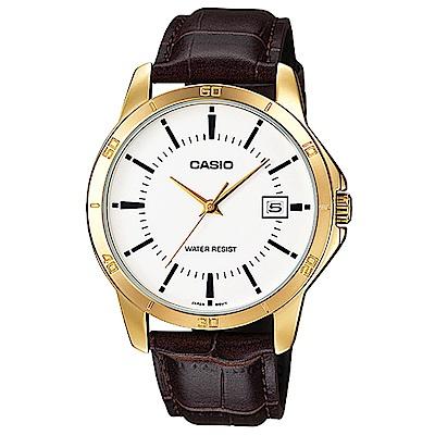 CASIO 時尚型男羅馬指針皮帶錶-白X金框(MTP-V004GL-7)/41.5mm