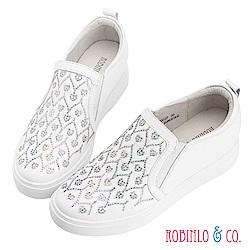 Robinlo & Co.浪漫愛心牛皮微內增高休閒鞋 白