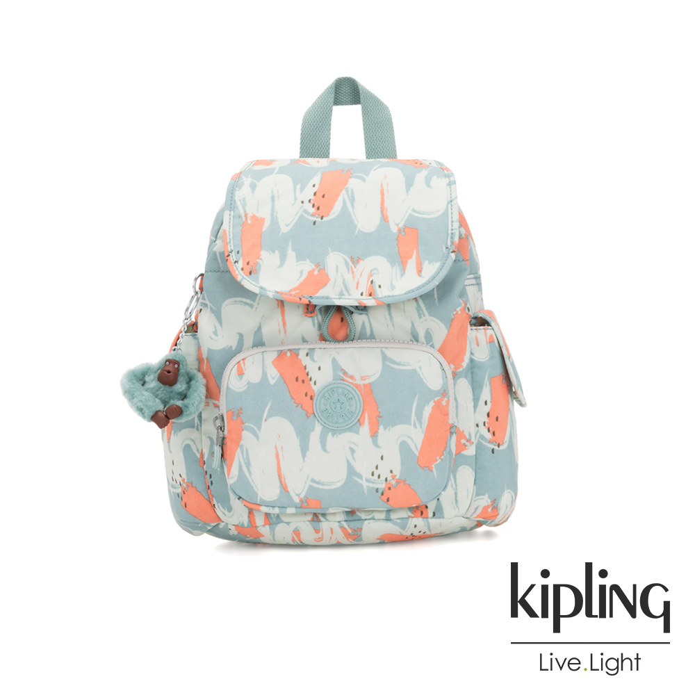 Kipling 湖水綠印象派塗鴉拉鍊掀蓋後背包-CITY PACK MINI