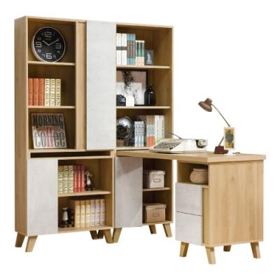 D&T德泰傢俱 JOYE清水模風格4.6尺書櫃加調整書桌-140x172x181cm